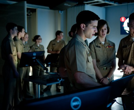Navy ROTC students practice ship management during a virtual simulation at the James B. Hunt Library. Photo by Marc Hall